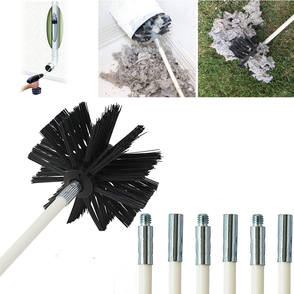 12 Feet Dryer Duct Cleaning Kit Lint Remover Brush Synthetic Brush Head Drill Cleaning Brush