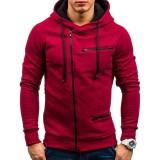 Men's Casual Zipper Decoration Fashion Pockets Drawstring Long Sleeve Hooded Sweatshirt