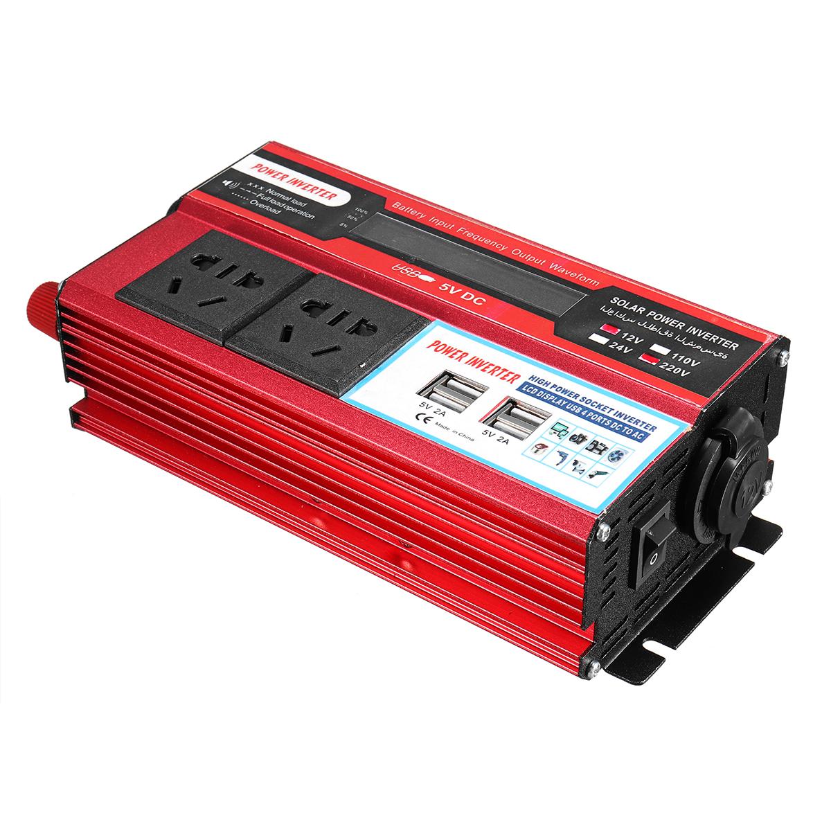 500W DC 12V/24V to AC 110V/220V Modified Sine Wave Power Inverter 4 USB