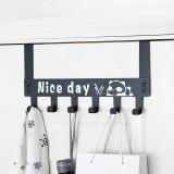 Detachable 6 Hooks Door Hanger Cartoon Clothes Bags Organizer Wall Hanging Storage Rack Holder Hook