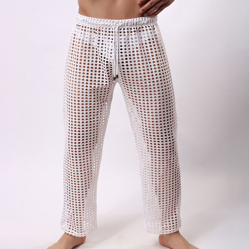Sexy Hollow Mesh Breathable Perspective Home Sleepwear Pajamas Pants for Men