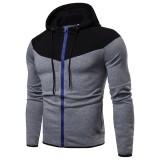 Men's Fashion Zipper Fly Color Block Drawstring Hooded Long Sleeve Casual Sweatshirt