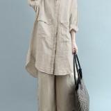 Plus Size Vintage Crew Neck Long Sleeve Cotton Long Blouse Shirt For Women