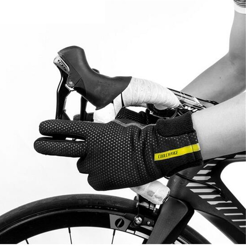 CoolChange Cycling Gloves Winter Thermal Windproof Full Finger Anti-Slip Touch Screen Bike Bicycle
