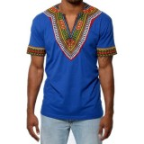 Mens African Ethnic Style Polyester Loose V Neck Tops Printed Fashion Casual T-shirts
