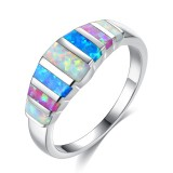 Unisex Trendy Colorful Opal Finger Rings Fashion Silver Color Casual Ring Popular Wedding Rings