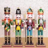 4PCS/Set 30cm Wooden Nutcracker Doll Soldier Vintage Handcraft Decoration Christmas Gifts