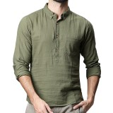Men's Solid Color Long Sleeved Loose Breathable T-Shirts Casual Buttons Turn-down Collar Tops