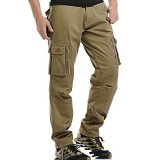 Mens Casual Fleece Waterproof Thickened Outdoor Tactical Pants Multi Pockets Solid Color Cargo Pants