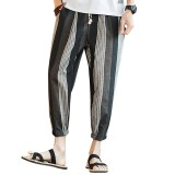 Men's Casual Striped Printed Loose Harem Pants Breathable Linen Ankle-Length Pants