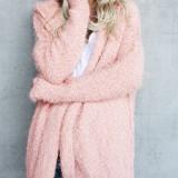Women Fuzzy Solid Color Hooded Outwear Coats
