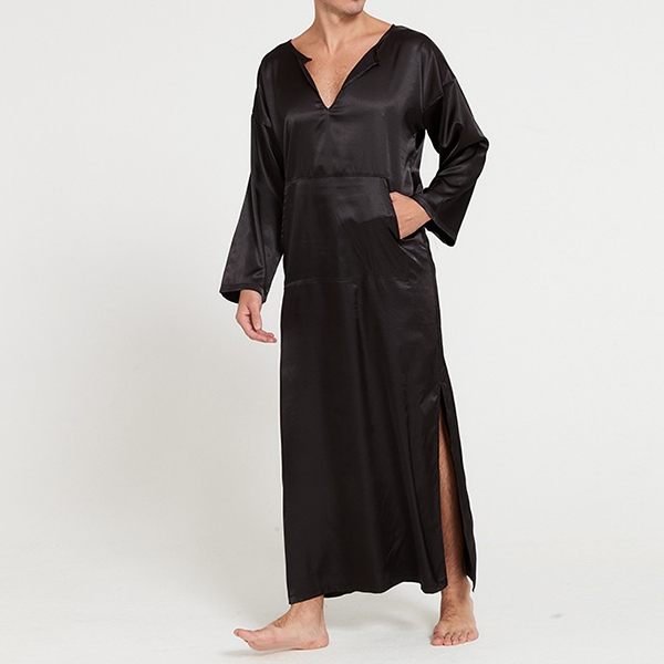 Casual Home Loungewear Soft Comfy Imitation Silk Sleepwear Night Gown Bathrobes for Men