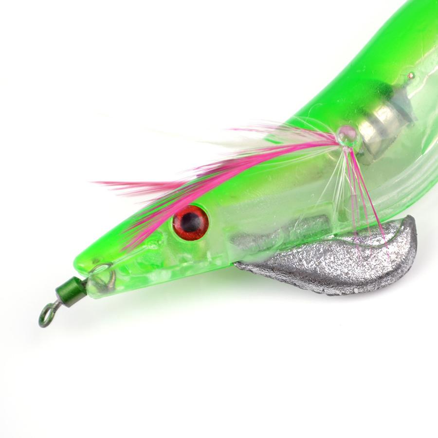 ZANLURE 1pc 3.5cm 21g 3D Eyes Luminous Electronic Wood Shrimp Lure Cuttlefish Jigs Fishing Lure