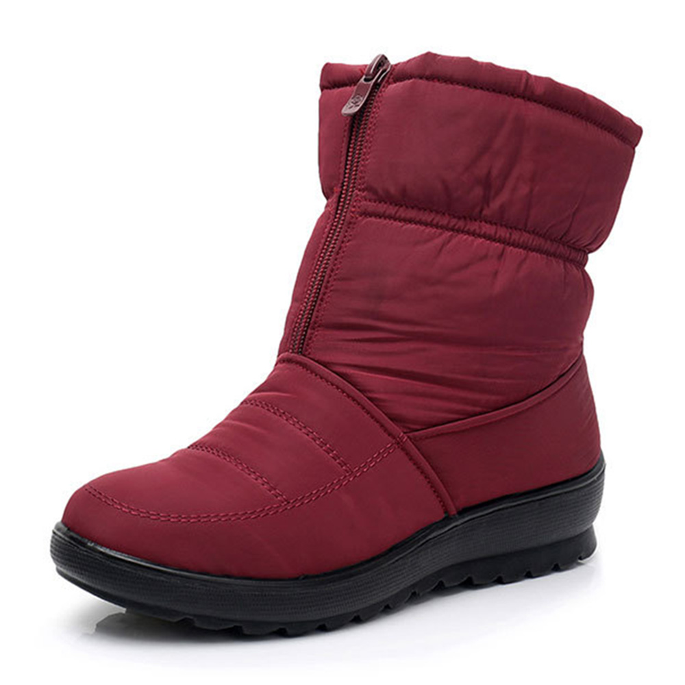 Women Winter Shoes Waterproof Zipper Snow Mid Calf Boots