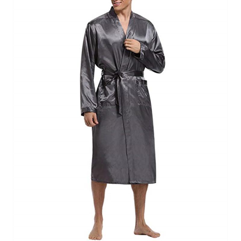 Mens Comfortable Mid Long Bathrobe Lightweight Sleepwear Loungewear