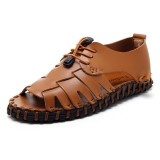 Men Open Toe Genuine Leather Sandals Adjustable Elatic Slip On Breathable Shoes