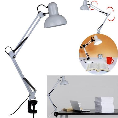 Flexible Swing Arm Clamp Mount Lamp Office Studio Home E27/E26 White Table Desk Light AC85-265V
