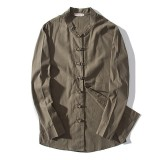 Mens Cotton Linen Stand Collar Fit Chinese Style Frog Button Autumn Jacket