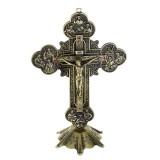 10″ Antique Jesus INRI Catholic Altar Standing Religious Crucifix Cross Decorations with Base