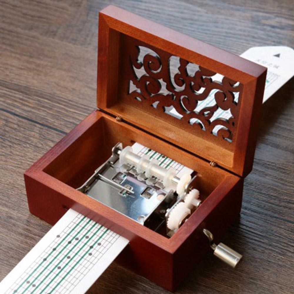 box music diy hand paper classic hole tone note cranked wooden tapes puncher carved pcs songs accessories boxes choose own