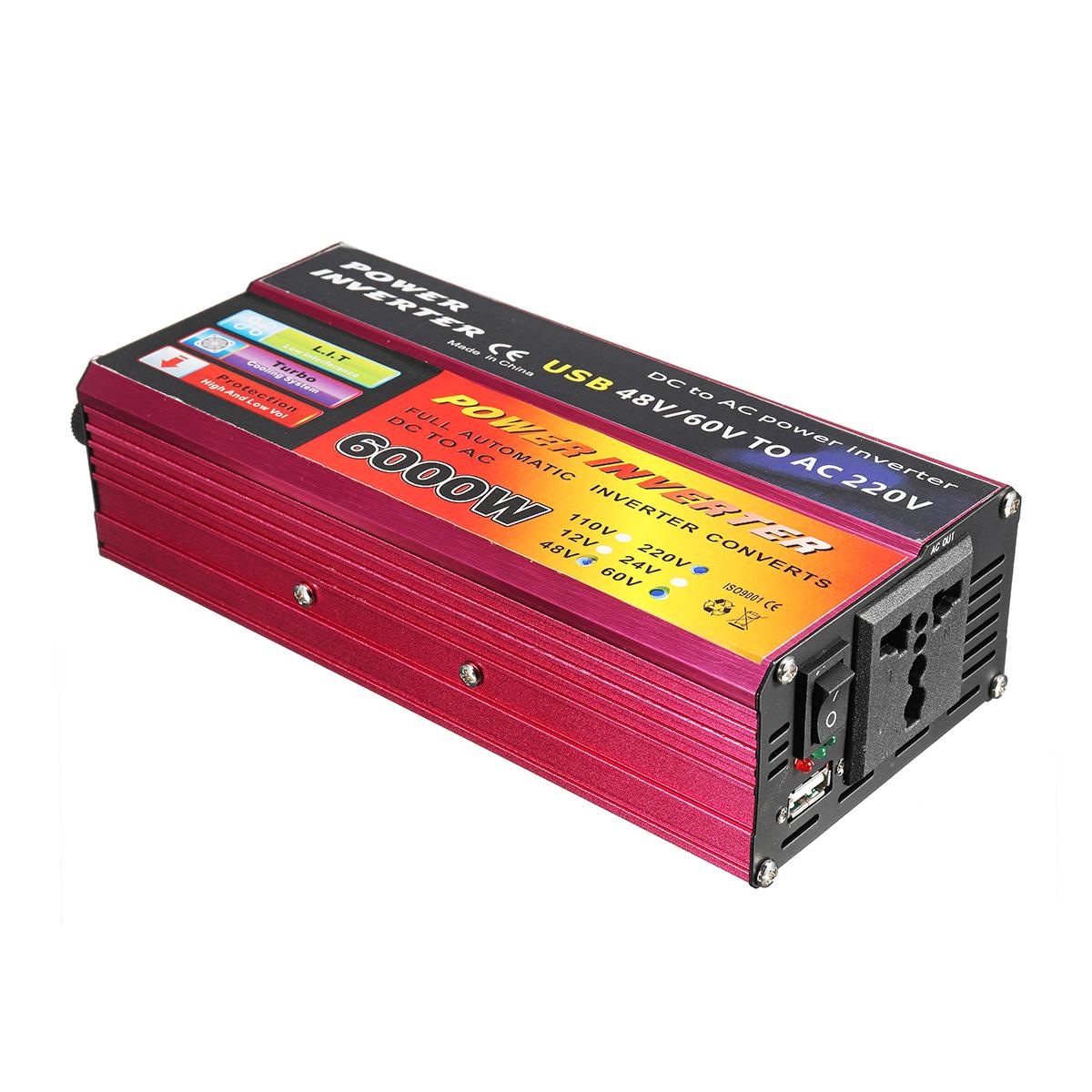 DC 12V/24V/48V/60V to AC 110V/220V 6000W Peak Power Inverter Modified Sine Wave Convert