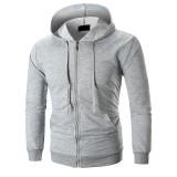 Men's Fashion Solid Color Pocket Zipper Design Long Sleeve Hoodies Sweatshirt