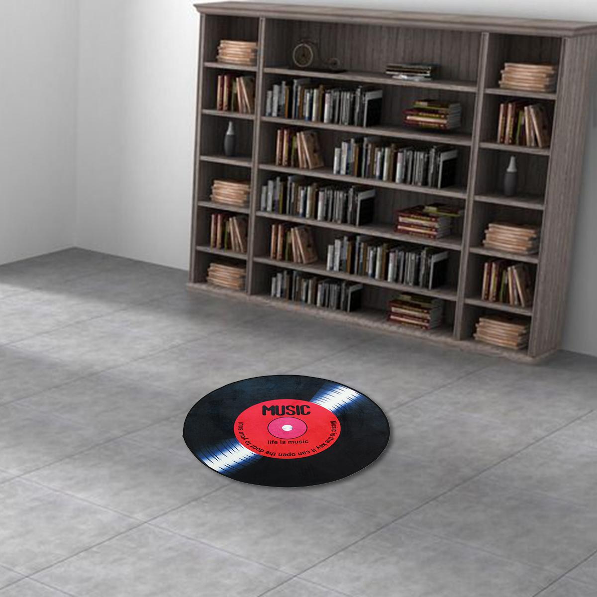 60 80 100 120cm Vinyl Record Printed Soft Fabric Round Floor Mat Carpet Room Area Bedroom Rug