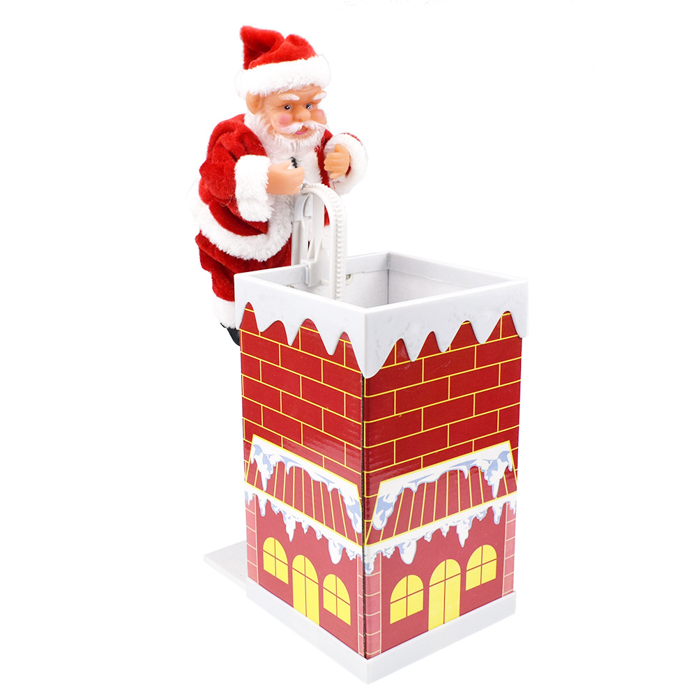 Christmas Gift Santa Claus Electric Climb Chimney 8.3 Inch Music Play Novelty Toys