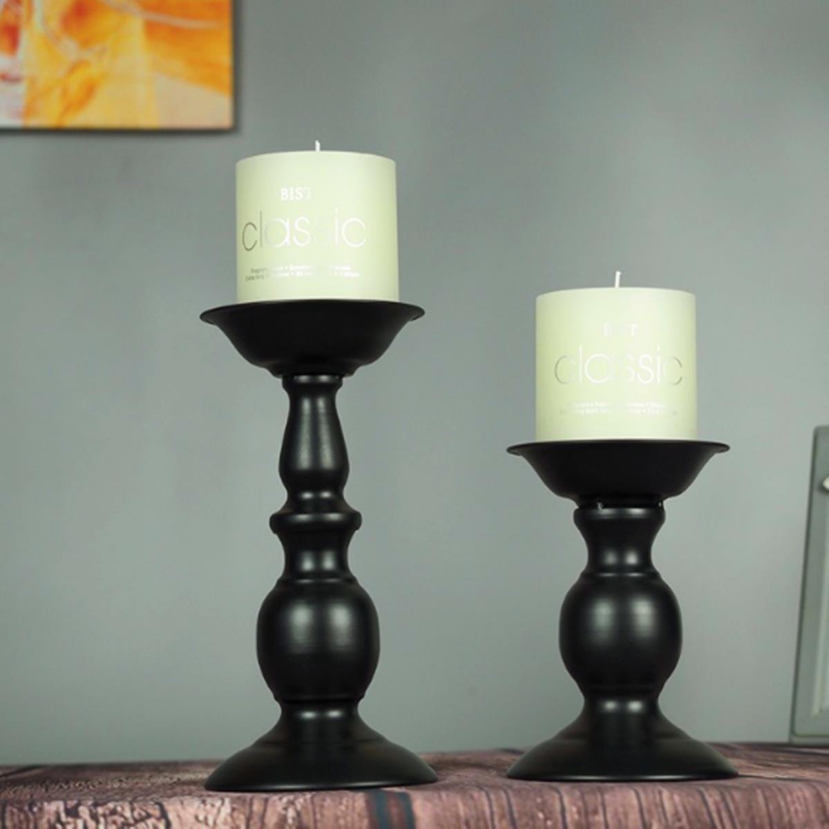2Pcs Vintage Carved Pillar Candle Holder Candlesticks Stand Wedding Party Decor Black