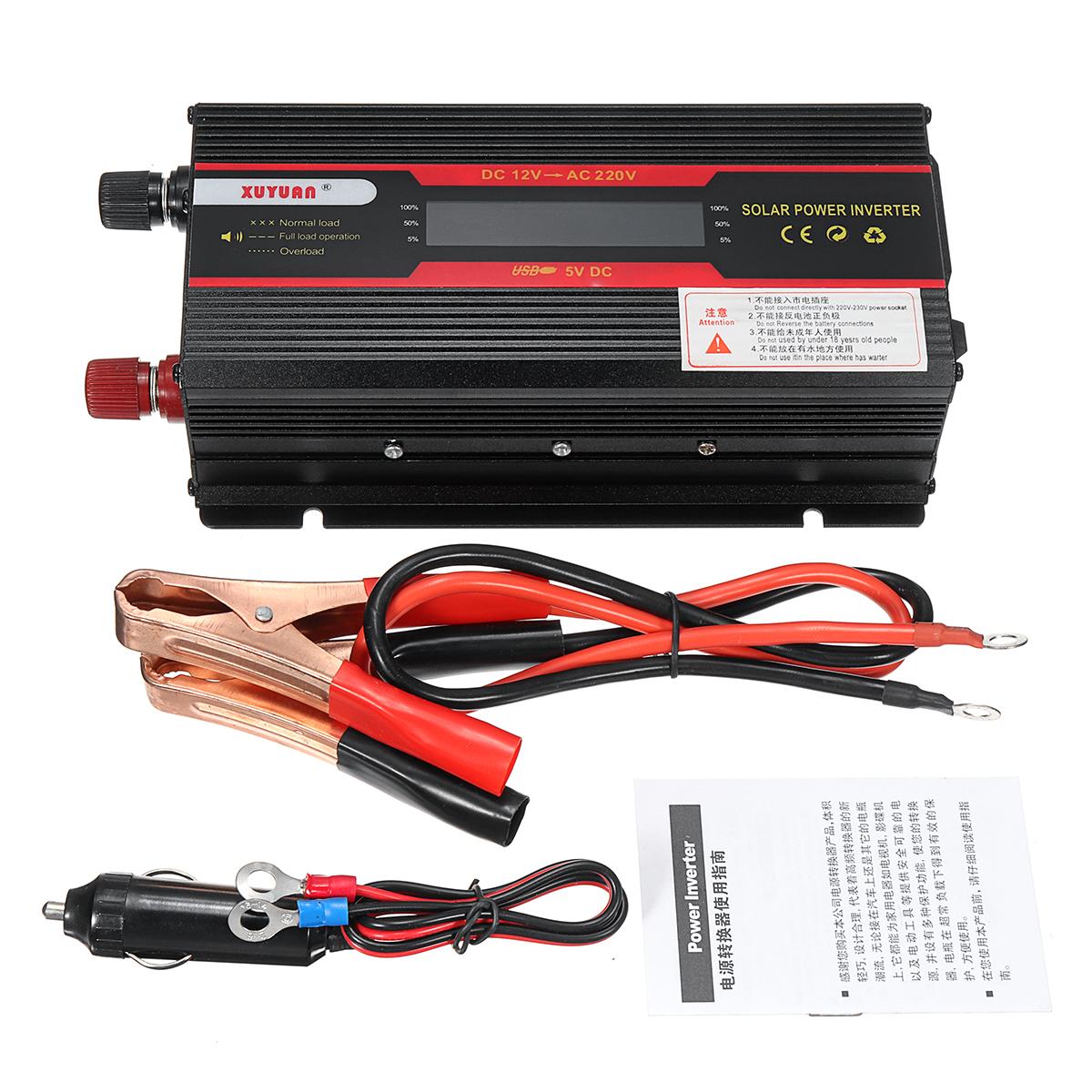 4000W Peak Power Inverter LCD Display DC 12/24V to AC 110V/220V Modified Sine Wave Converter