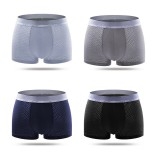 4 Pieces Men Big Size Ice Silk U Convex Breathable Comfy Casual Boxer Underwear
