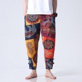 Mens Casual Ankle Length Cotton Fashion Ethnic Style Loose S-5XL Fit Elastic Waist Harem Pants
