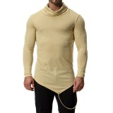 Men's Autumn Cotton Blend High Collar Slim Long Sleeve Solid Color Casual T-shirts