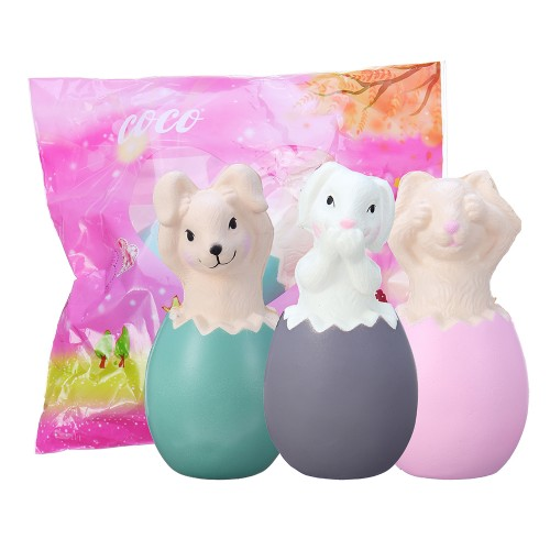 13CM Squishy Rabbit Bunny Eggs With  Fancy Bag Christmas Gift Squeeze Toy
