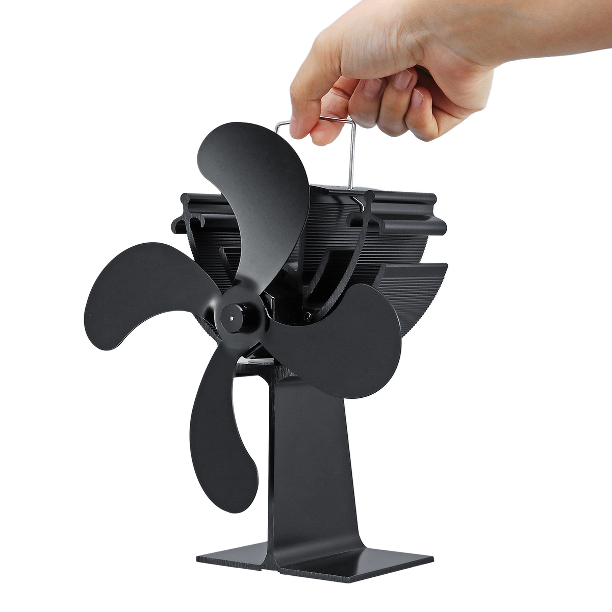 Small 4 Blade Heat Powered Wood Log Burning Stove Fan Eco Heating Fan