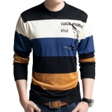 Men's Fashion Breathable Crew Neck Pullover Color Block Casual Long Sleeve Tops