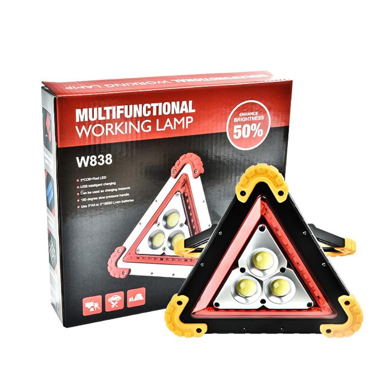 New 36 Leds 1600lm 4 Modes Outdoor Portable Handle Triangle Flashlight Car Repair Work Light Warning Traffic Light Emergency Portable Lighting