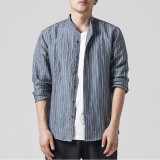 INCERUN Mens Vertical Striped Printing Spring Autumn Stand Collar Casual Fit Shirts
