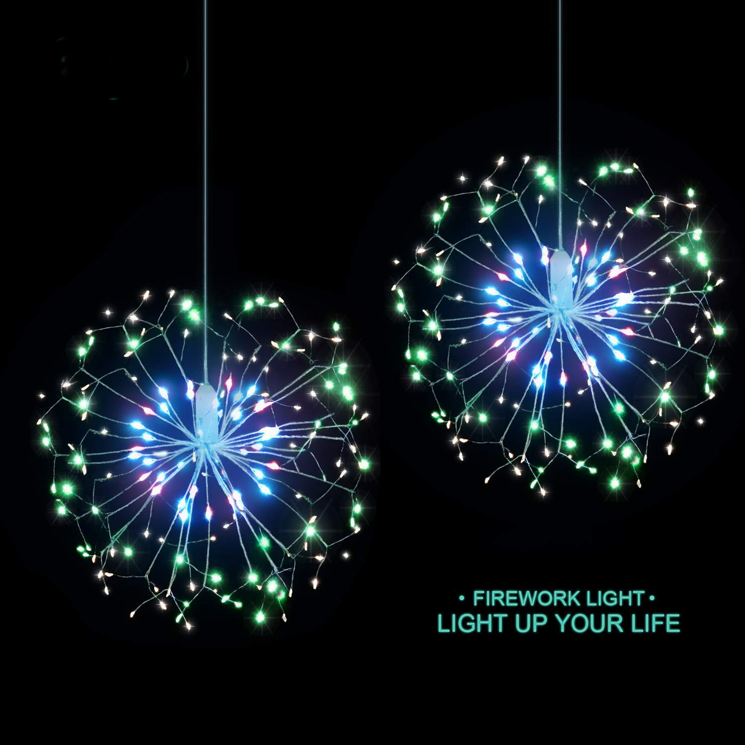 Battery Operated 100/120 LED 8 Modes Colorful Firework Starbust Fairy String Light for Home Decor