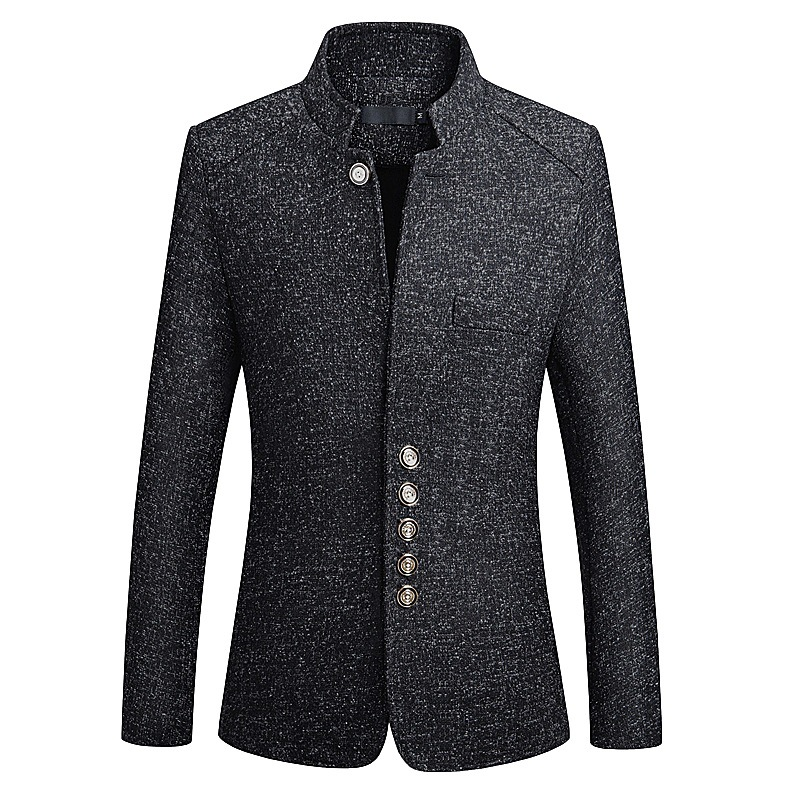 Mens Stand Collar Casual Slim Gentleman British Style Jacket Coats