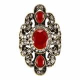 Vintage Finger Ring Gemstone Rhinestone Hollow Oval Geometric Rings Ethnic Jewelry for Women