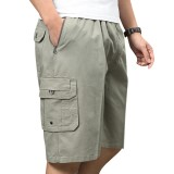 Summer Middle-aged Men's Shorts Loose Cotton Knee-Length Multi-pocket Cargo Shorts