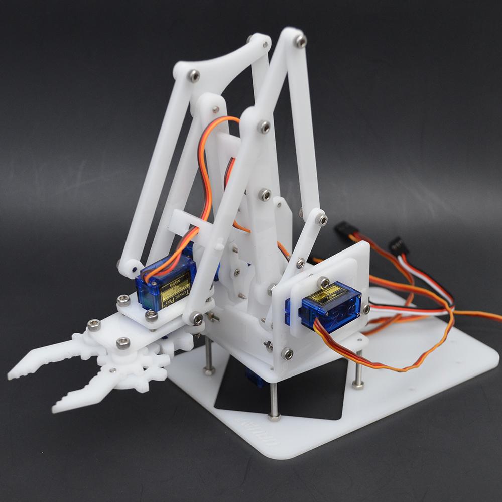 URUAV DIY 4DOF Smart Acrylic RC Robot Arm Assembled Arm Educational Kit For  Arduino Black/White