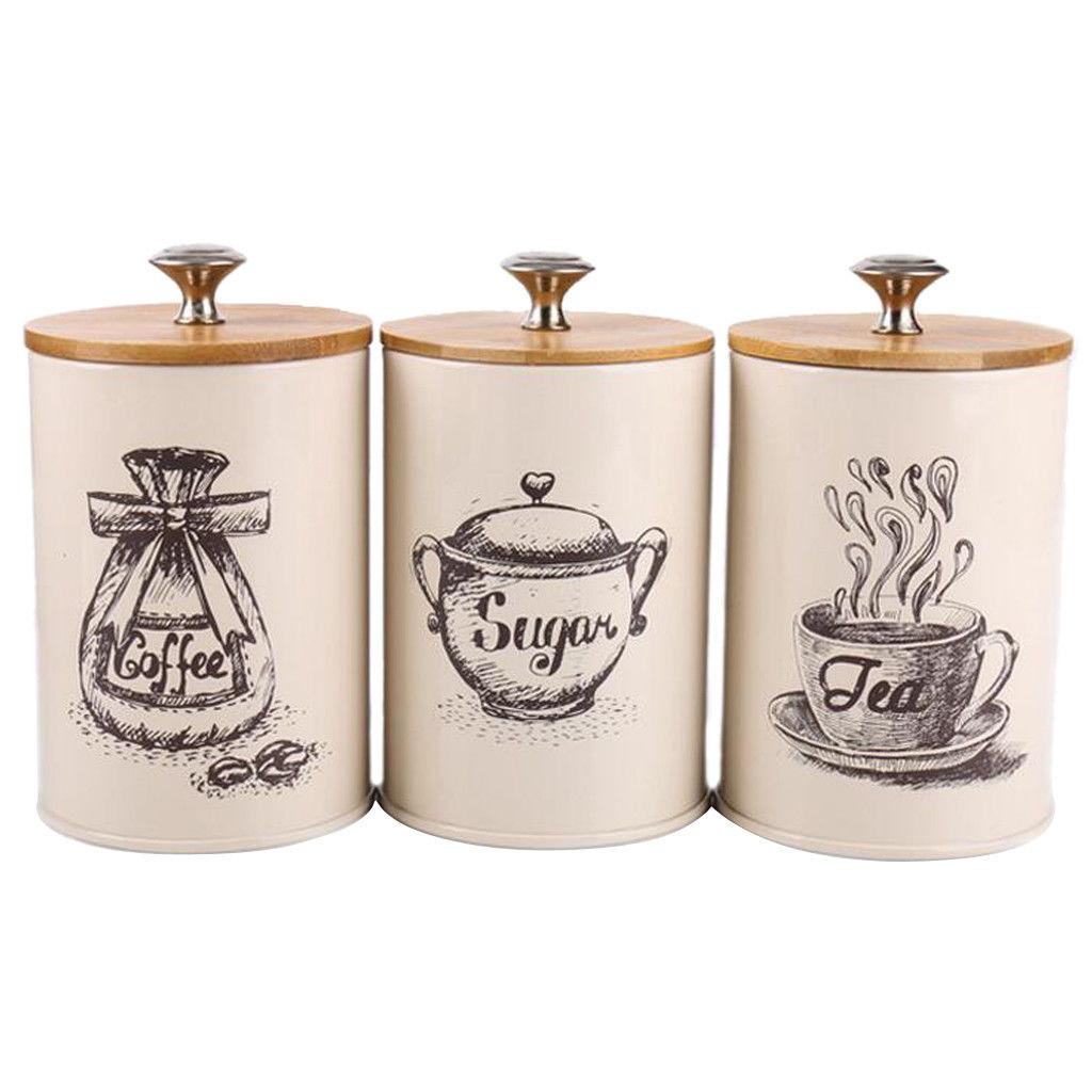 tea coffee sugar canisters 3pcs retro tea coffee sugar canisters jars pots tins