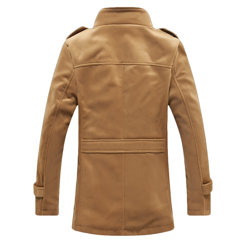 Mens Mid-long Stand Collar Solid Color Epaulet Thick Fleece Single-breasted Jacket Coats