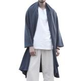TWO-SIDED Vintage Black Mid-long Length Loose Hooded Cloak Coats