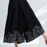 Women Ethnic Style Vintage Embroidery Cotton Linen Wide Leg Pants