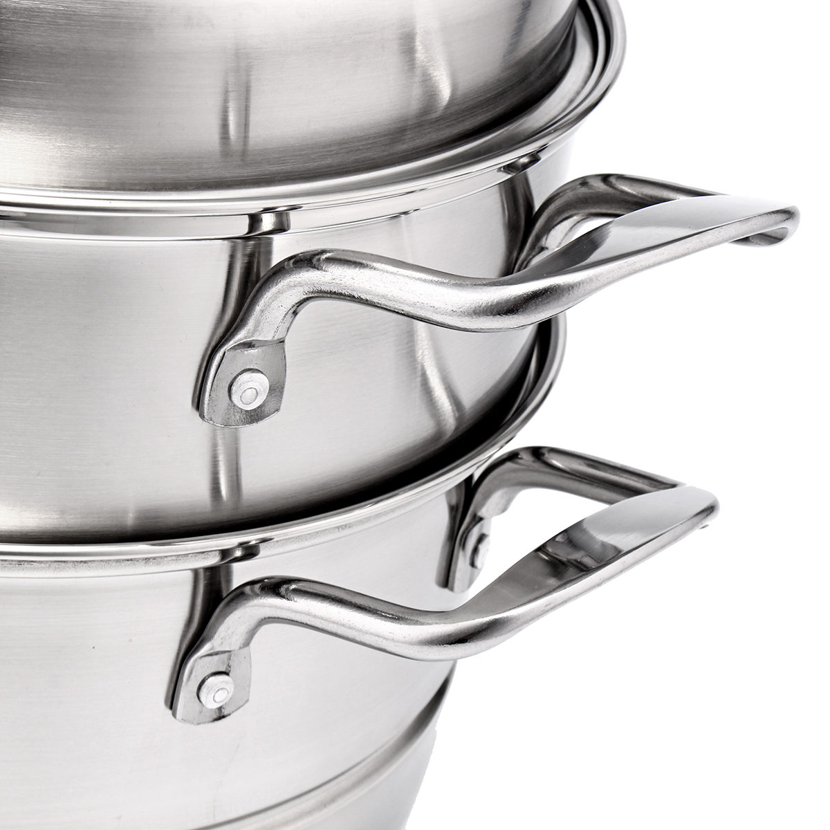 3 Tier Stainless Steel Steamer Thick Induction Pot Kitchen Cookware 5 Size