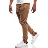 Men's Outdoor Cotton Solid Color Button Elastic Waist Slim Casual Jogging Pants