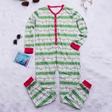 Mens Christmas Striped Pinting Sleepwear Jumpsuit Pajamas Set